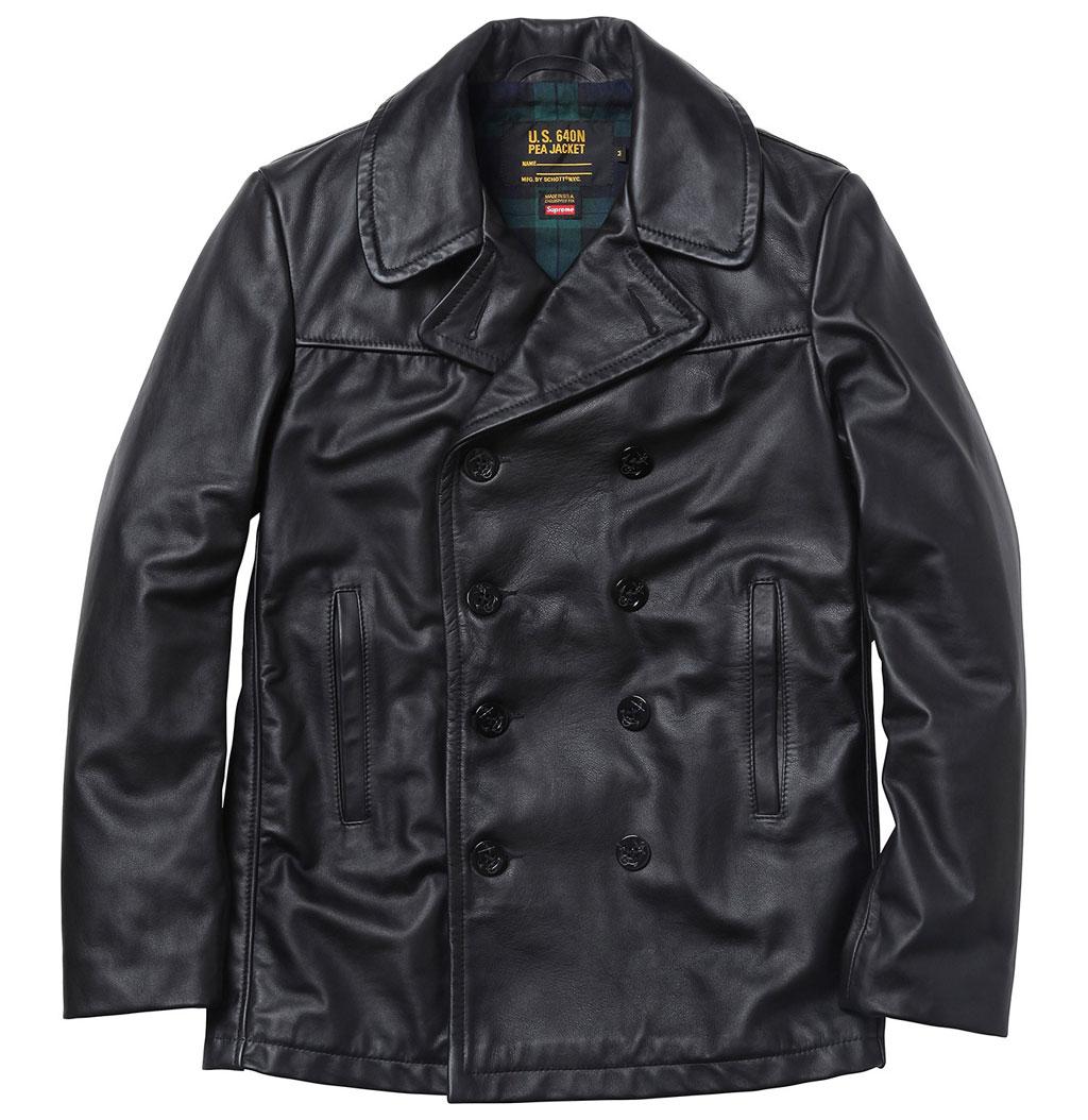 Schott x Supreme – Leather U.S. Navy Pea Coat
