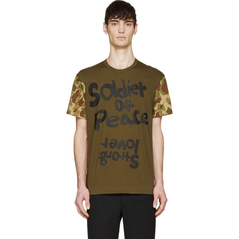 Comme-Des-Garcons-Camo-Sleeve-Peace-Tshirt