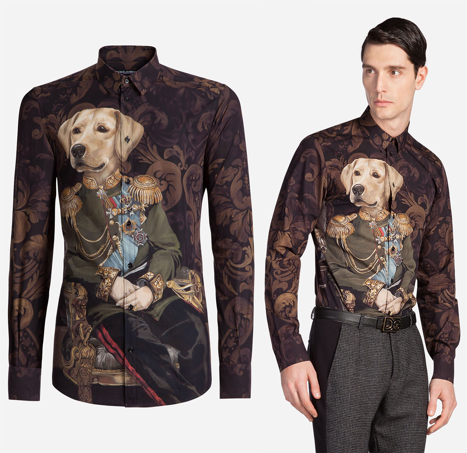 4d747e5564372a Support The Troops In This Dolce   Gabbana Dog Soldier Print Shirt